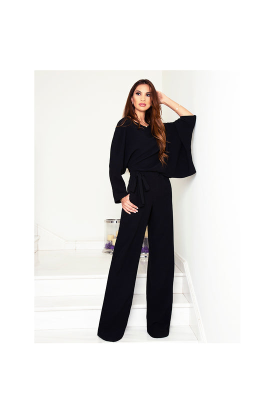 LAMACE Draped Black Jumpsuit