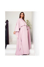LAMACE Pink Crepe Cape Dress