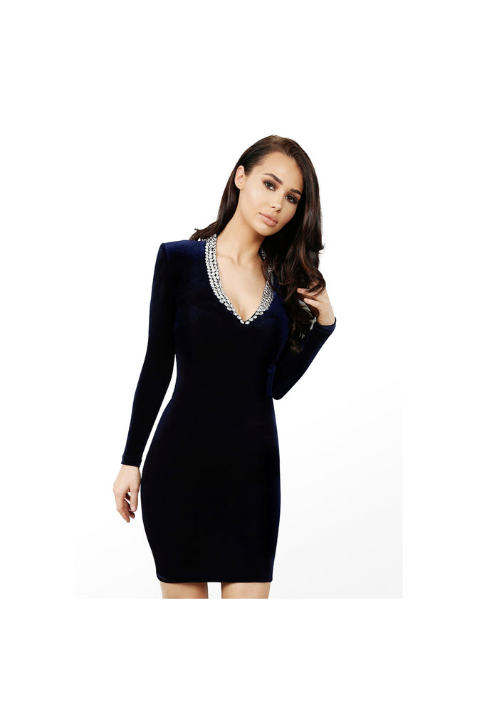 LAMACE Blue Silk Velvet Mini Dress with Crystal Neckline