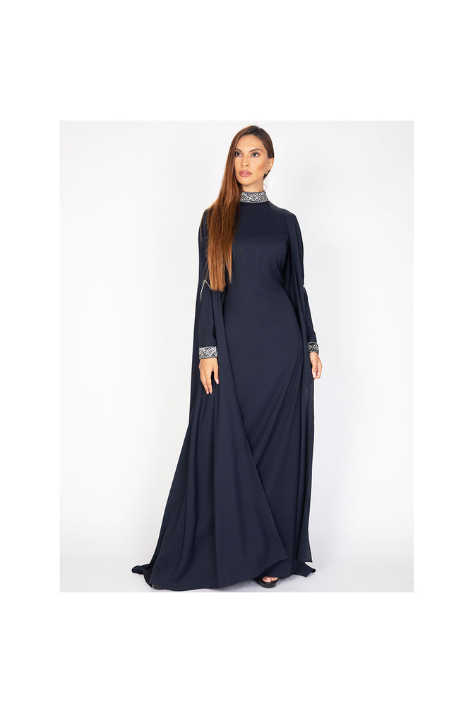 LAMACE Blue Cape Dress with Embellished Cuffs and Neckline