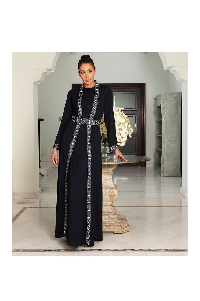 LAMACE Blue Kaftan Dress with Embroidery and Embellishments