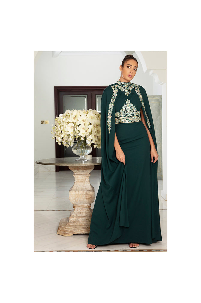 LAMACE Green Cape Dress with Embroidery and Embellishments