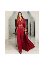 LAMACE Red Cape Jumpsuit with Gold Embroidery and Embellishments