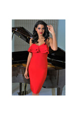 LAMACE Red Knit Body Con Dress with Ruffles