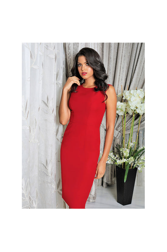 LAMACE Red Crepe Midi Dress