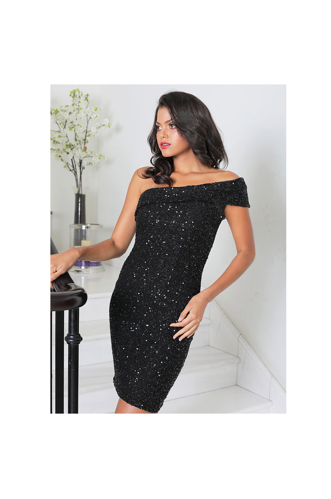 LAMACE Black Fully Embellished Midi Dress
