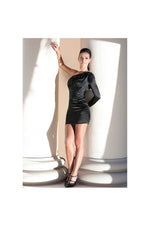 LAMACE Black Silk Satin Mini Dress with Bead and Crystal Embellishments