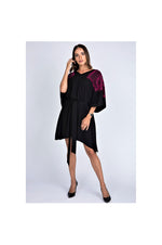 LAMACE Black Kaftan Dress with Pink Square Embroidery and Crystals