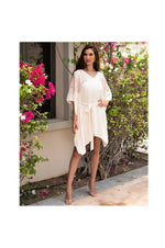 LAMACE Cream Kaftan Dress with Peach Square Design Embroidery with Cystals
