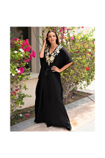 LAMACE Long Black Kaftan with Gold Floral Embroidery