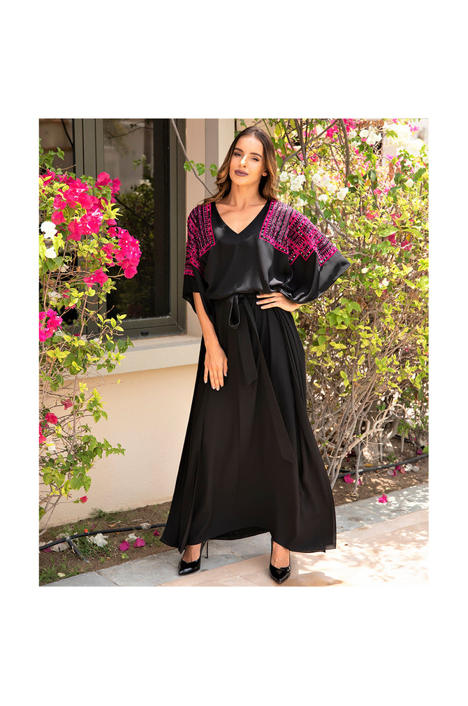LAMACE Long Black Kaftan with Pink and Black Square Embroidery