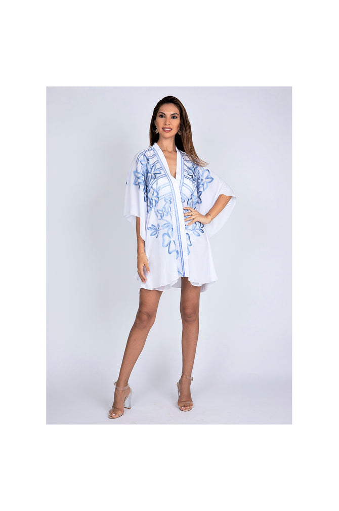 LAMACE White Kaftan with Blue Floral Embroidery