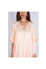 LAMACE Peach Kaftan Dress with Embroidery and Crystals