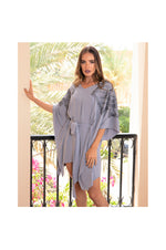 LAMACE Grey Kaftan Dress with Grey Square Embroidery and Crystals