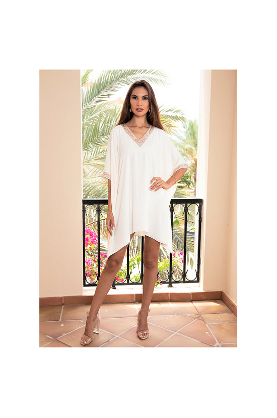 Cream Kaftan Dress with Crystal and Bead Embellishments