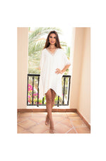 LAMACE Cream Kaftan Dress with Peach and Silver Cystal and Bead Neckline and Sleeve