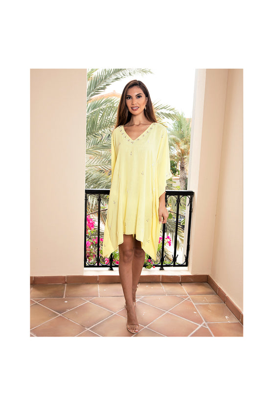 LAMACE Yellow Kaftan with Crystal Embesllishments