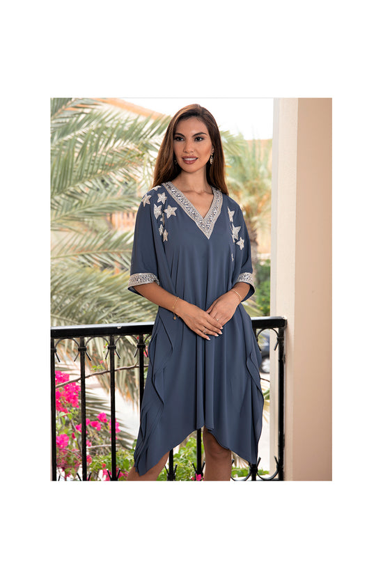 LAMACE Grey Kaftan with Crystal and Bead Neckline, Cuffs and Star Embellishments