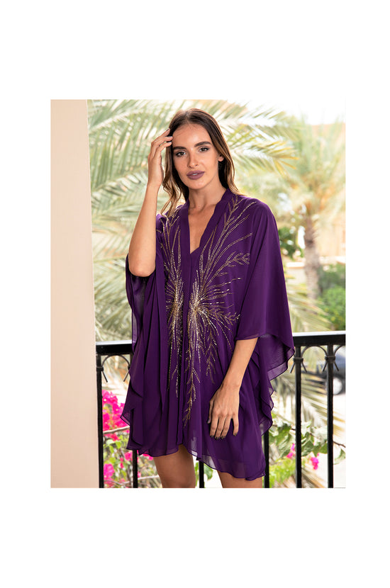 LAMACE Purple Beach Kaftan with Gold Embellishment