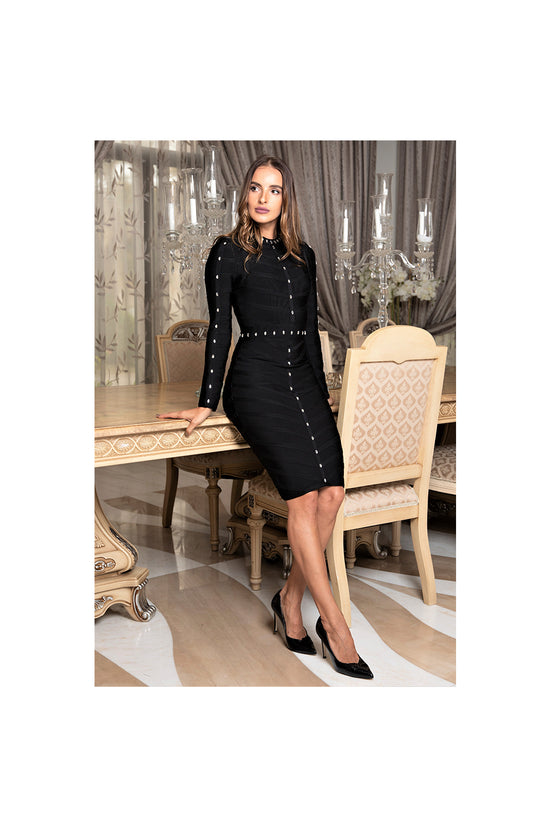 LAMACE Black Bandage Mini Dress with Crystal Embellishment