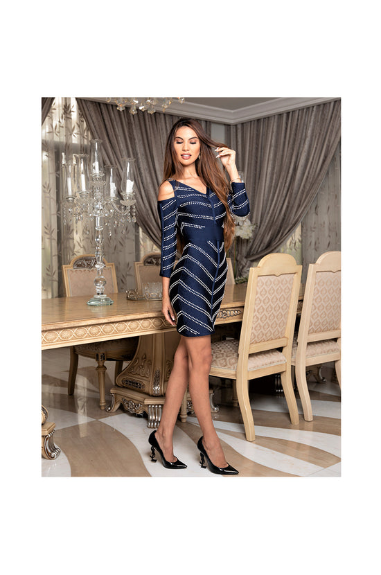 LAMACE Blue Bodycon Mini Dress with Crystal Embellishments