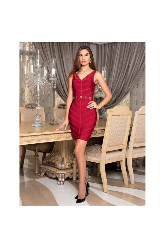 LAMACE Red Bandage Dress with Gold Crystals