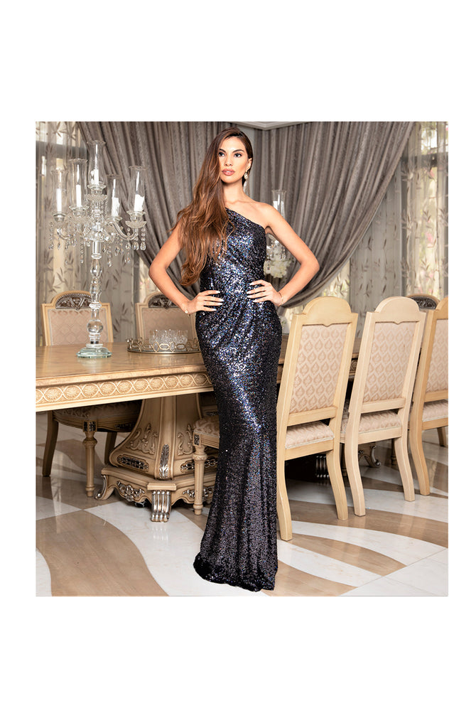 LAMACE Black Sequin One Shoulder Gown