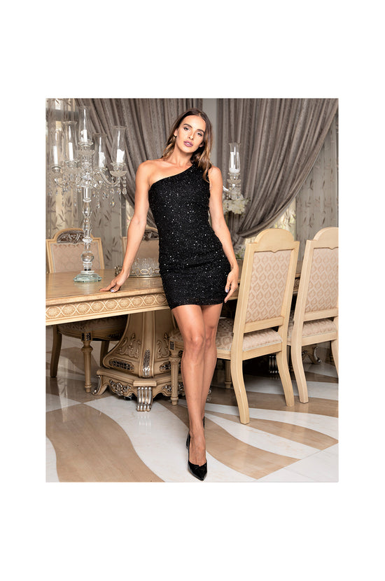 LAMACE Black Sequin Mini Dress