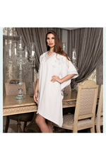 LAMACE Beige Kaftan Dress with Silver Embroidery and Embellishment