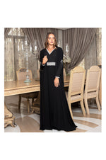 LAMACE Black Dress with Cape and Embellishments
