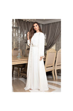 LAMACE White Kaftan with Crystal Embellishments