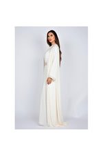 White Long Kaftan with Crystal Embellishments