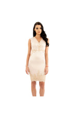 LAMACE Gold Lace Mini Dress
