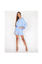 LAMACE Blue Crepe Draped Playsuit