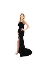 LAMACE Black Silk Velvet Gown