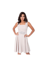LAMACE Nude Day Dress with Crystal Embellished Belt