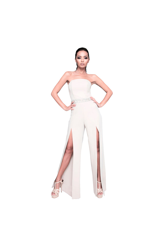 LAMACE Nude Crepe Jumpsuit with Crystal and Beaded Embellishments