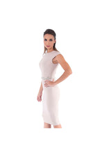 LAMACE Nude Midi Dress with Embellished Belt
