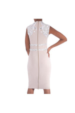 LAMACE Nude Crepe Midi Dress with Crystal and Bead Bird Embellishment