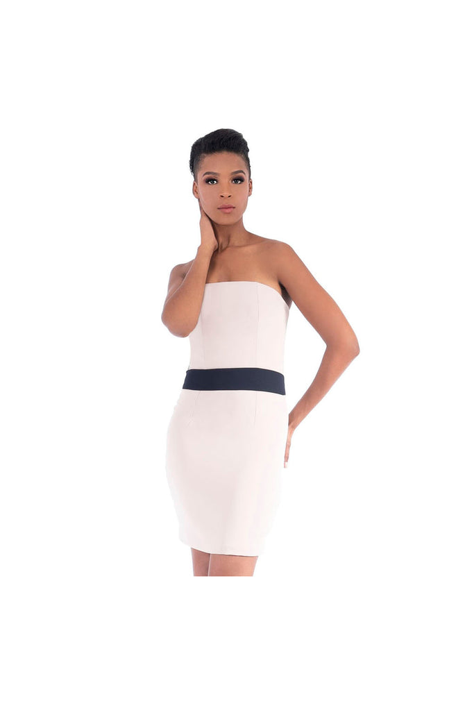 LAAMCE Nude Strapless Mini Dress with Blue Waistband