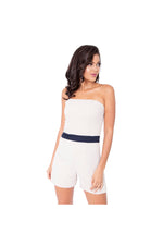 LAMACE Nude Playsuit with Blue Waistband