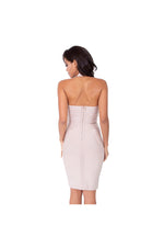 LAMACE Nude Bandage Halter Mini Dress with Embellishment