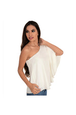 LAMACE Cream One Shoulder Top with Crystal Embellishments