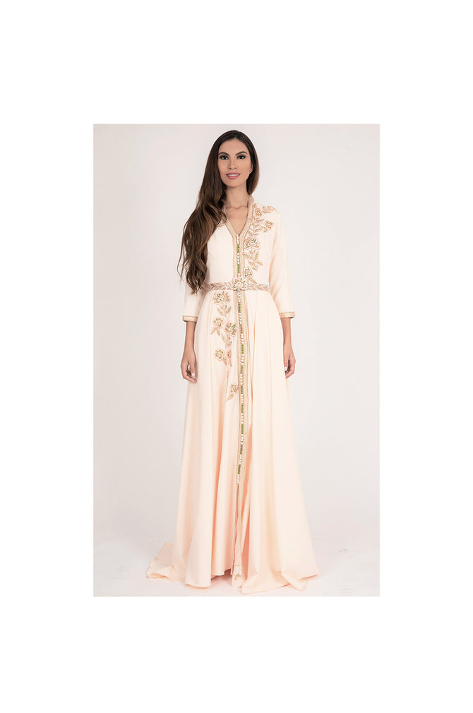 LAMACE Peach Floral Embroidered Arabic Kaftan