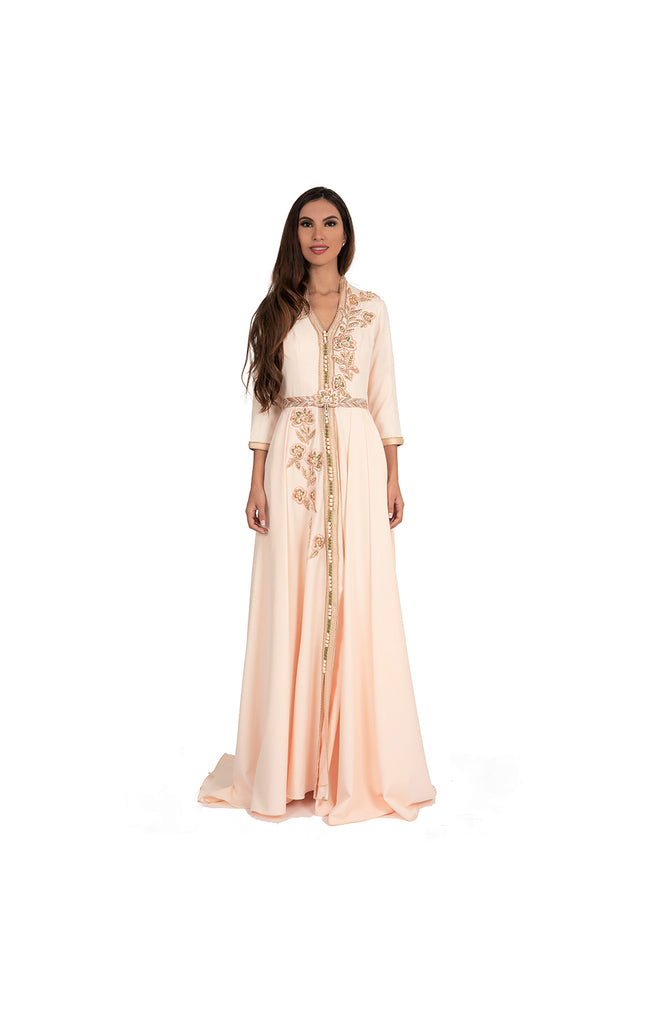 LAMACE Peach Kaftan Gown with Peach and Green Embroidery and Embellishments