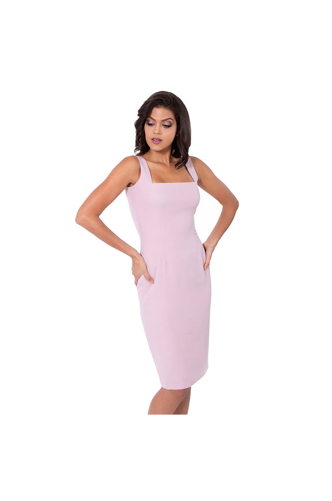 LAMACE Pink Crepe Midi Dress