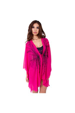 LAMACE Pink Beach Kaftan with Black Beading and Embroidery