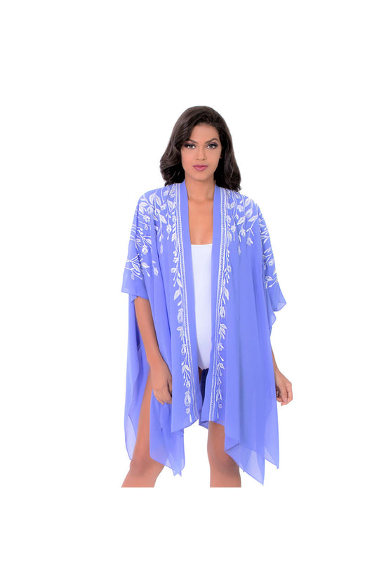 LAMACE Purple Kaftan with White Floral Embellishment