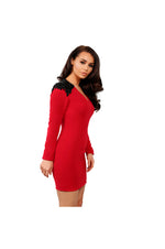 LAMACE Red Crepe Mini Dress with Black Crystal Wing Embellishment