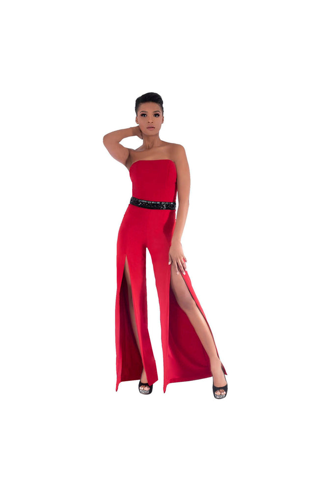 Red Crepe Jumpsuit with Black Crystal Embellishment